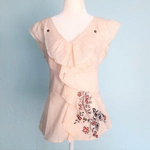 RARE! Anthropologie Flower-Embroidered Top Floreat